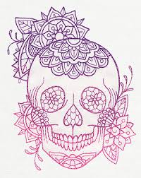 intricate flowers decorate this light stitching skull design