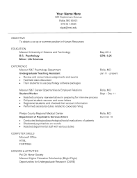 Sample Resume Objectives Human Services by Resume Objective For Psychologist Corpedo Com