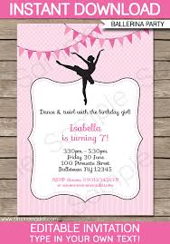 printable invitations ballerina party invitations template birthday party