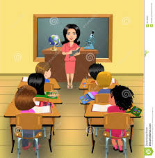 teaching lesson classroom vector illustration teacher pupils time