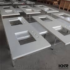 prefabricated sparkle white commercial double sink bathroom quartz