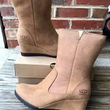 nib ugg australia emalie wedge waterproof ankle boot black zip s ugg leather wedge boots on poshmark