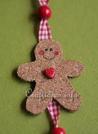 christmas craft cork gingerbread man and star hanging decoration