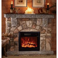 Corner Electric Fireplace Interior Rustic Stone Fireplace Which Decorated With White
