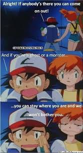 Ash Meme - pokemon memes on twitter is ash scared of a ghost or a monster