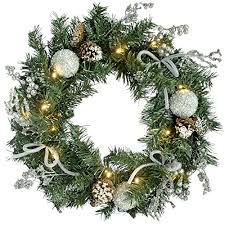 werchristmas decorated pre lit wreath illuminated with 20 cold