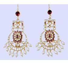 Chandelier Earrings India Chandelier Earrings Indian 22k Gold Plated Kundan At Rs