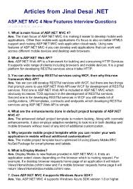 asp net mvc 4 new features interview questions