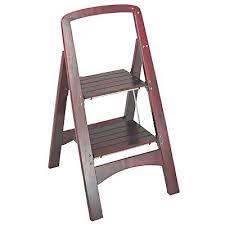 stools brown wood foldable step stool kitchen locking ladder