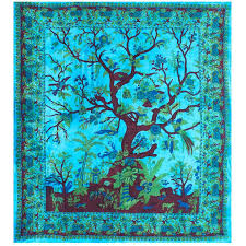 tree of life home decor tree of life blue double tapestry 84 x 100 cotton wall hanging
