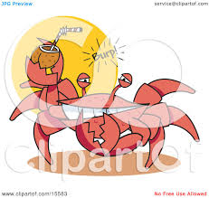alcoholic drinks clipart funny crab belching while drinking an alcoholic beverage in a