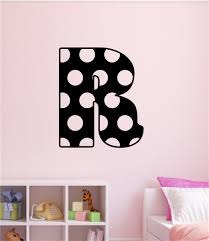 monogram letter stickers custom polka dot monogram letter vinyl decal wall stickers