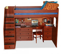 this rich toned wood bed features a lavish desk below the bed with drawer