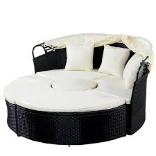 Outdoor Wicker Patio Furniture Round Canopy Bed Daybed - costway daybed patio sofa furniture round retractable canopy
