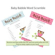 the baby shower word scramble game is the perfect way to liven up