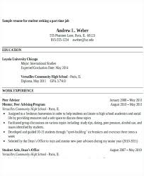 resume for part time job high student sle of resume for part time job by student sle resume for