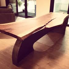 live edge black walnut dining table on steel legs limited