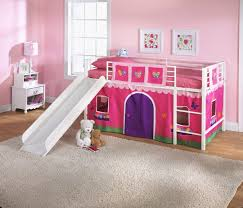 Bookcase Ladder And Rail by Bedroom Pink Wooden Loft Bed With White Iron Side Rail Built In