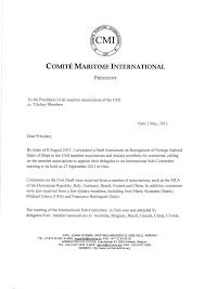 Sample Partnership Proposal Correspondence From The President Comite Maritime International