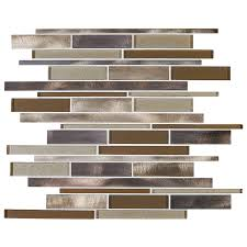 shop american olean bronze blast linear mosaic glass and metal