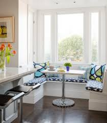 corner banquette bench kitchen transitional with white wall sutro
