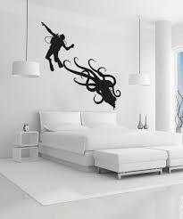 vinyl wall decal sticker scuba diver and octopus os aa746