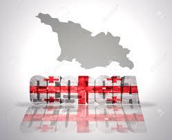 Georgian Flag Word Georgia With National Flag Near Map Of Georgia Stock Photo