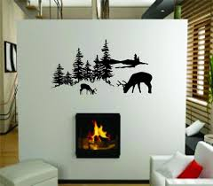 outdoor tree scene picture art with deer buck graphic designs outdoor tree scene picture art with deer buck graphic designs living room peel stick sticker vinyl wall decal size 8 inches x 16 inches 22