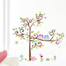 popular girl owl decor buy cheap girl owl decor lots from china kawaii owls tree wall stickers for kids room decorations nursery cartoon children girls home decals 1011