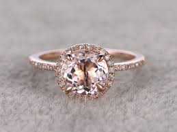 7mm diamond morganite engagement ring 14k gold engagement rings