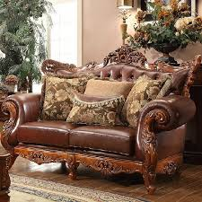 Leather And Wood Sofa High Grade European Style Cloth Oak Wood Sofa Genuine Leather