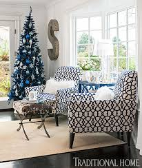 Silver And White Christmas Decorations Holiday Home In Blue And White Traditional Home