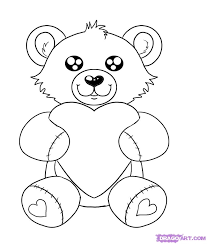 how to draw a valentines day heart bear step by step valentines