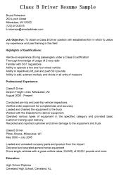 Driver Resume Samples by Helpful Class B Bus Driver Resume Sample Expozzer