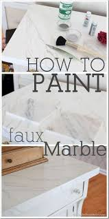 how to paint wood furniture to look like carrara marble step by