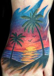 palm trees and sunset tattoomagz