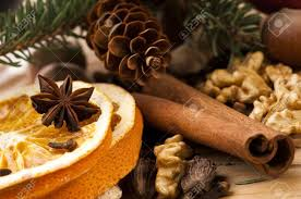 different kinds of spices nuts and dried oranges christmas