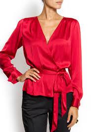 wrap shirts blouses lyst mango wrap blouse in