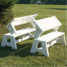 picnic table converts to bench quick change white convertible bench garden furniture gardener s