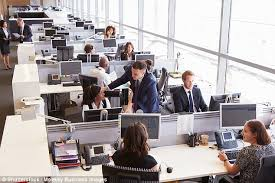 open plan office layout definition employees who share space are dissatisfied with their work daily