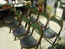 Stakmore Folding Chairs Vintage Leather Mid Century Modernism Style Antiques Ebay