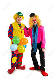 clown balloon l pair of happy clowns are a celebration with balloons stock