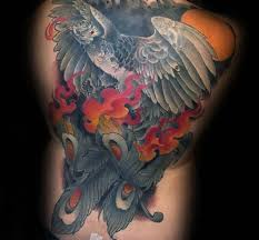flaming phoenix back tattoo golfian com