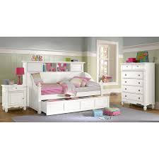 Pink Striped Comforter Bedroom White Wooden Full Daybed With Storage And Shelves Having
