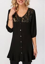 black button up blouse sequin embellished v neck button up blouse modlily com usd 29 28