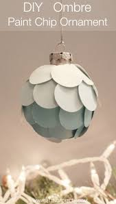 stylish diy ombre paint chip ornament setting for four