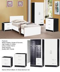 marina ultra high gloss 3 piece trio bedroom sets furniture units