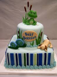 frogs snails and puppy dog tails baby shower cake baby shower