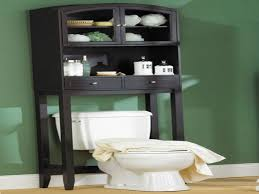 black wooden bathroom cabinet with double doors and double drawers