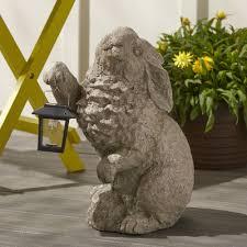 wind weather rabbit with solar lantern garden statue reviews